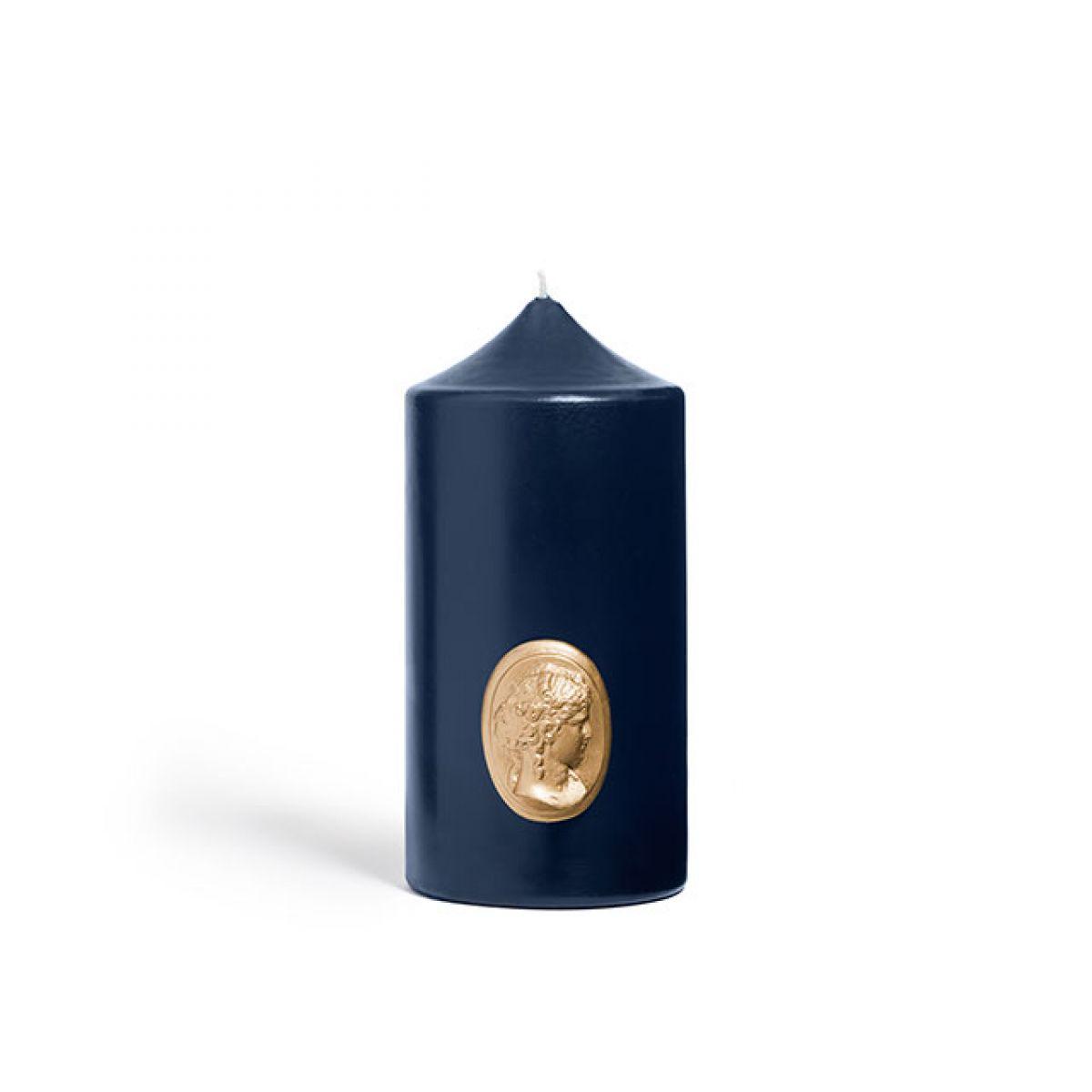 Navy blue pillar candle